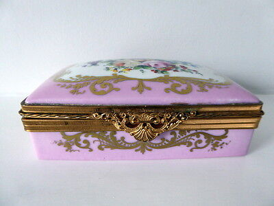 Superb Antique  Limoges Ormolu Mounted Trinket Box - Handpainted With Flowers