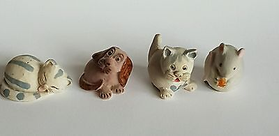 4 Vintage Peter Fagan Miniature Scottish Hand Painted Dog Cat Mouse 1983