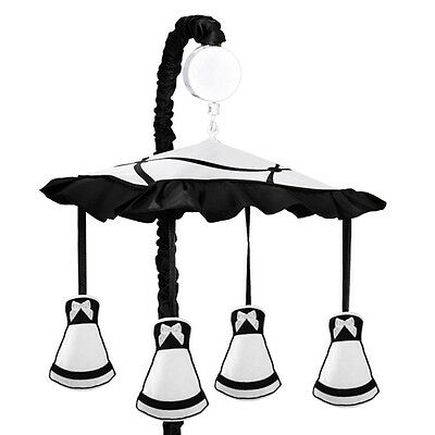 Sweet Jojo Designs Musical Mobile for Black White Princess Baby Crib Bedding Set
