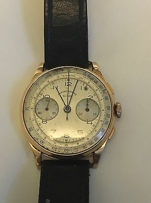 VINTAGE 18ct GOLD CHRONOGRAPH SUISSE WATCH FOR SPARES OR REPAIRS