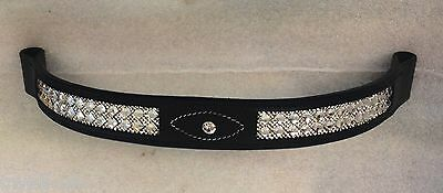 """New Bling! Dressage 5/6 rows clear Crystal Browband COB 15""""Black Great gift idea"""