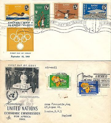 Ethiopia 1961 & 1964, 2 Nice First Day Covers. #a2195