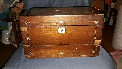 Antique  Victorian Rosewood & Mother of Pearl Jewellery Box for Restoration.