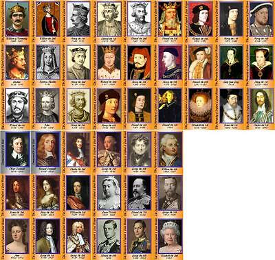 English and British Monarchy Lineage Trading Cards (Kings and Queens)