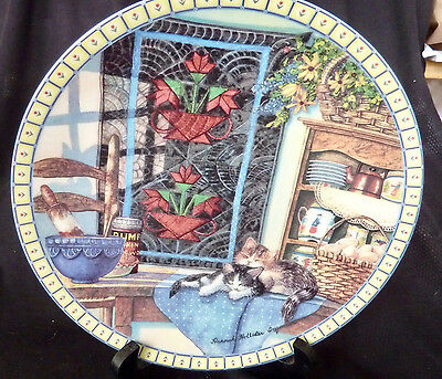 """""""Lazy Morning"""" Cat Collector Plate, Knowles #d, COA, NIB, Cozy Country Corners"""