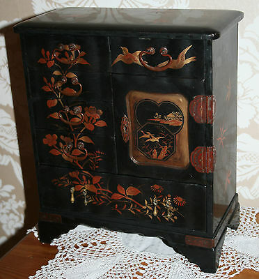 Antique Japanese Tansu Lacquered/Pape Mache Jewellery/Sewing Drawers Box