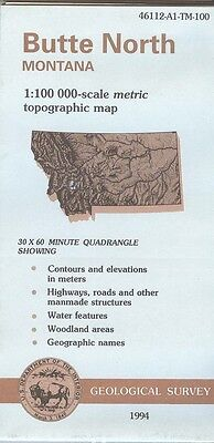 US Geological Survey topographic map metric BUTTE NORTH Montana 1984