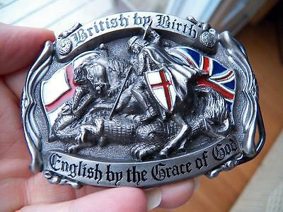 VINTAGE 1991  BRITISH by BIRTH ENGLISH by the GRACE of GOD BELT BUCKLE