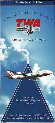 Airline Timetable - TWA - 15/06/96 - B747 Cover