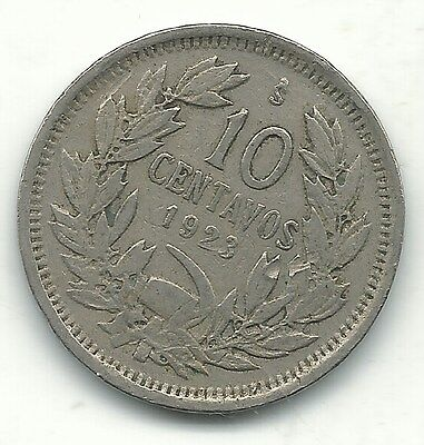 A Very Nice 1923 S Chile 10 Centavos Coin-Defiant Condor On Rock-Jan227