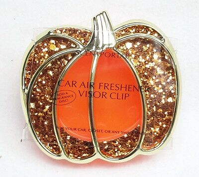Bath Body Works Scentportable Holder ORANGE GLITTER PUMPKIN Car Visor Clip Unit