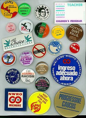 23 Vintage 1960s-80s Peace Anti-War & Justice Pinback Buttons I'm Against Racism