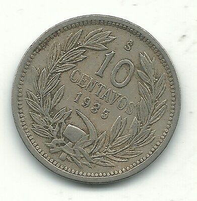 A Better Grade 1935 S Chile 10 Centavos Coin-Defiant Condor On Rock-Jan229