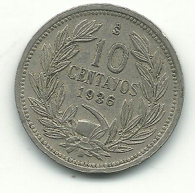 A Higher Grade 1936 S Chile 10 Centavos Coin-Defiant Condor On Rock-Jan230