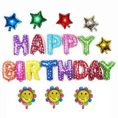 """20 Pcs """"HAPPY BIRTHDAY"""" Letters Foil Balloons For Birthday Party Decoration Star"""