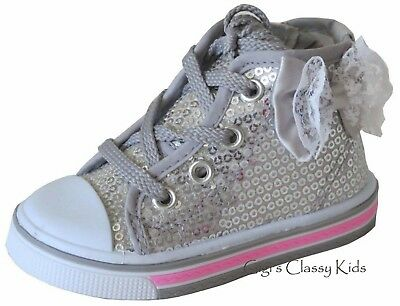 Girls Infant Baby Toddler Tennis Shoes Silver High Top Dress Sequins Sneakers
