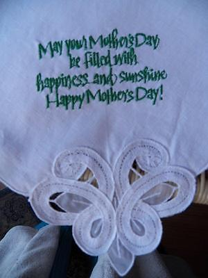 Gorgeous Vintage Hankie Hanky With Open Work Embroidery & Mothers Day Saying