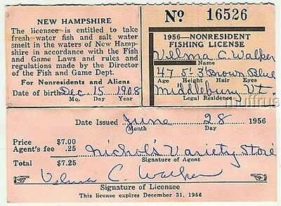 1956 New Hampshire Nonresident Fishing License Non Resident #16526