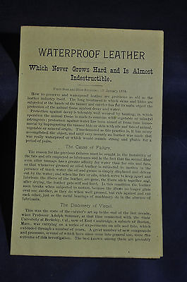 Ca 1905 Waterprrof Leather Advertisement , Viscol for Shoes & Harness