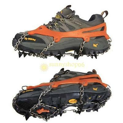 2x Ice Cleat Shoe Boot Tread Grips Traction Crampon Chain Spike Anti-slip Walker