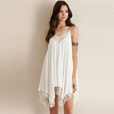 Sexy Womens Summer Beach Dress Sleeveless Lace Cocktail Party Short Mini Dress B