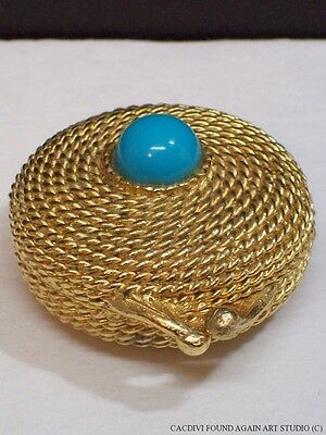 Vintage Estee Lauder Youth Dew Coiled Rope Solid Perfume Compact Faux Turquoise