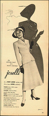 1948-joselli suits-40's fashion`pretty model, clothing-Vintage ad