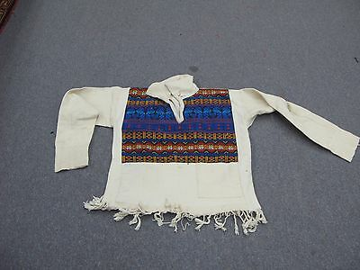 Vintage Hand Embroidery Guatemalan Folk Art Huipil Embroidered Shirt Tunic