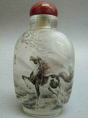 Chinese Glass Inside-drawing Hand Painted Horse Pattern Snuff Bottle