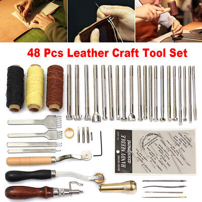 48Pcs Leather Craft Hand Tools Kit Sewing Stitching Thread Punch Carving Work