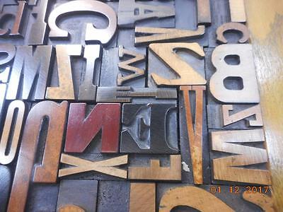 Letterpress Printing Antique Wood Type Graphic Design Mix Font Alphabet In Frame