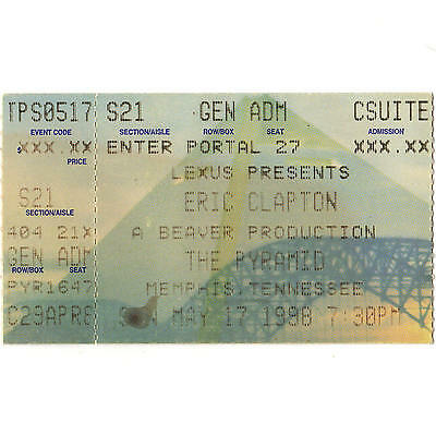 ERIC CLAPTON Concert Ticket Stub MEMPHIS TN 5/17/98 PYRAMID PILGRIM THE CREAM
