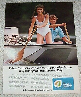 1980 print ad page - Rely Tampons LORI LOUGHLIN swimsuit Procter & Gamble ADVERT