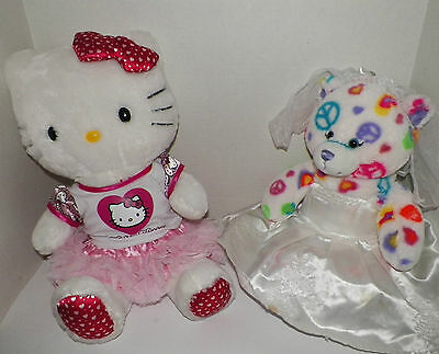 "18"" Build a Bear LOVE Hello Kitty & Peace Bear Stuffed Plush"