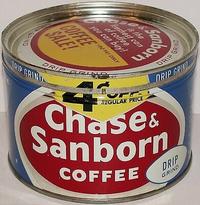 Vintage tin CHASE SANBORN COFFEE 4 cents off key wind correct lid Chicago n-mint