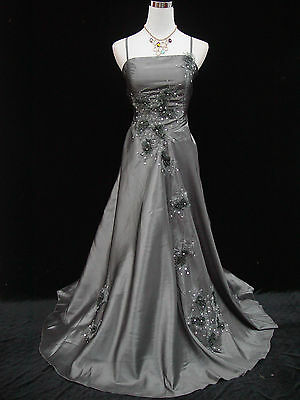 Cherlone Satin Grey Lace Sparkle Prom Ball Gown Wedding/Evening Dress Size 14-16