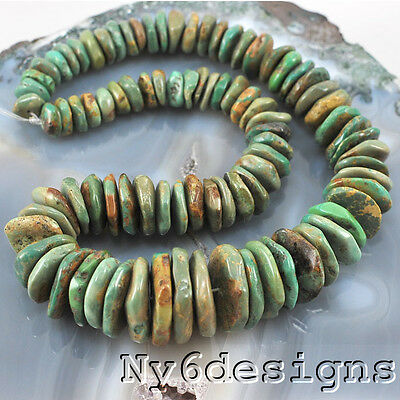 """2x8mm-4x24mm Natural Hubei Green Turquoise Large Chip Beads 15"""" (TU613)e"""