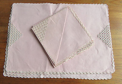 Vintage Madeira Pink Linen Embroidery Cutwork 4 Placemats & Napkins