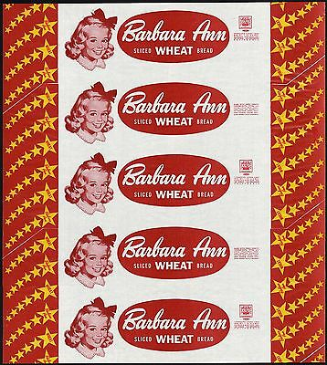 Vintage bread wrapper BARBARA ANN WHEAT girl pictured Los Angeles San Bernardino