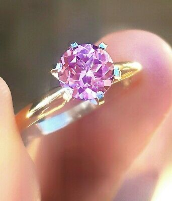 1.72ct Genuine Pink Sapphire Solitaire 14K 14KT Solid Yellow Gold Ring
