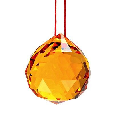 """YELLOW FENG SHUI HANGING CRYSTAL BALL 1.5"""" 40mm Sphere Prism Gold Sun Catcher"""