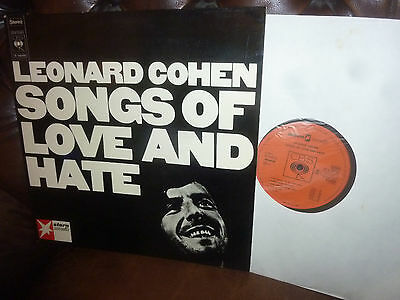 """Leonard Cohen, Songs Of Love And Hate, Psych CBS S 64090 Stern Holland LP, 12"""""""