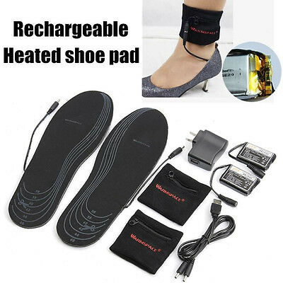 Electric Battery Heated Insoles Foot Warmer Shoes Pad Foot Pad Winter Warm Black