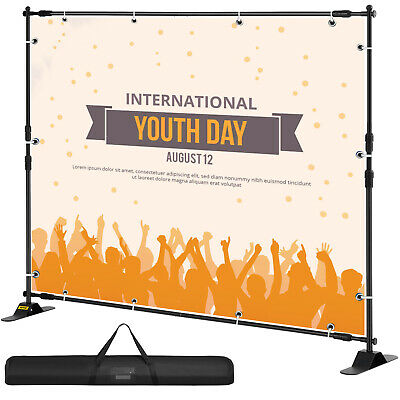 10'x8' Banner Stand Display Backdrop Telescopic Adjustable Background Show Wall