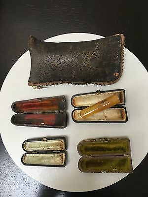 Collection: Vintage Pipe Mouth Piece Ext With Leather Case + 3 Cases + Pouch