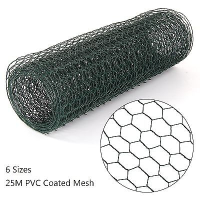 PVC Coated Green Chicken Rabbit Wire Mesh Fence Garden Fencing Barrier 25M Long