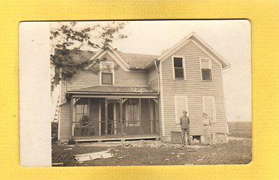 """RPPC Morrisonville,Dane County,WI Wisconsin, house damaged, """"Alice"""" message 1915"""