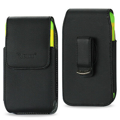 REIKO Vertical Leather Carrying Side Case Pouch Cover Holster Swivel Belt Clip