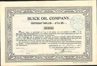 BUICK OIL COMPANY - Amsterdam issue 1912