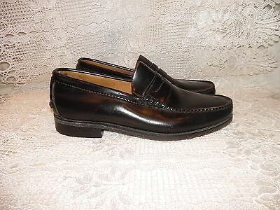 COBURNE SQUARE vintage penny loafers shoes black leather USA mens size 8.5 W